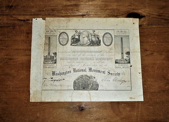 1849 National Washington Monument Society Certificate