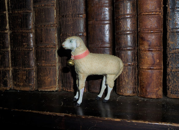 German Putz Sheep with Bell and Light Red Collar