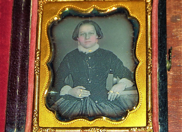 Ambrotype of Young Woman with Distinctive Hairstyle and Lots of Gold Jewelry