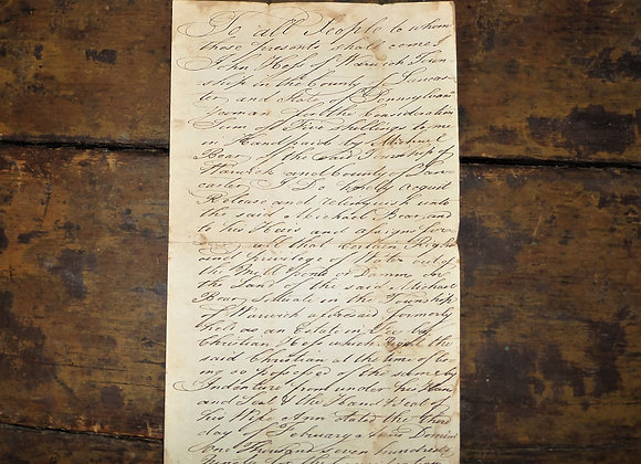 1815 Water Access Deed Warwick County PA - Rev John Hess
