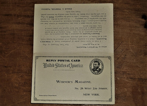 1893 Werner's Magazine - Elocution and Speech - Pre-Stamped Reply Card