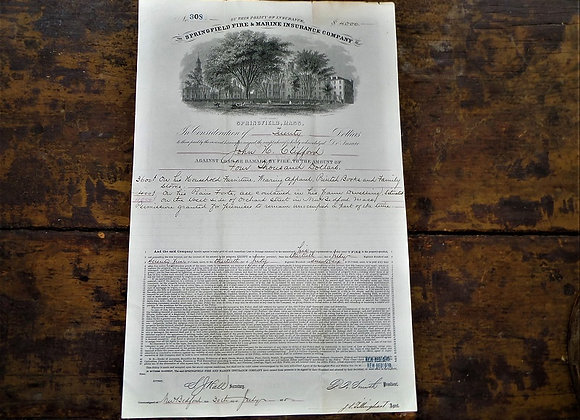 1875 Home Insurance Policy for Governor John H Clifford of Massachusetts