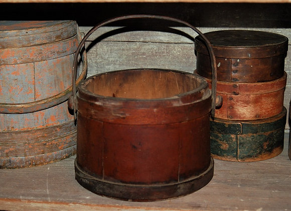 Sweet Little Antique Red Wash Bucket with Wood Handle