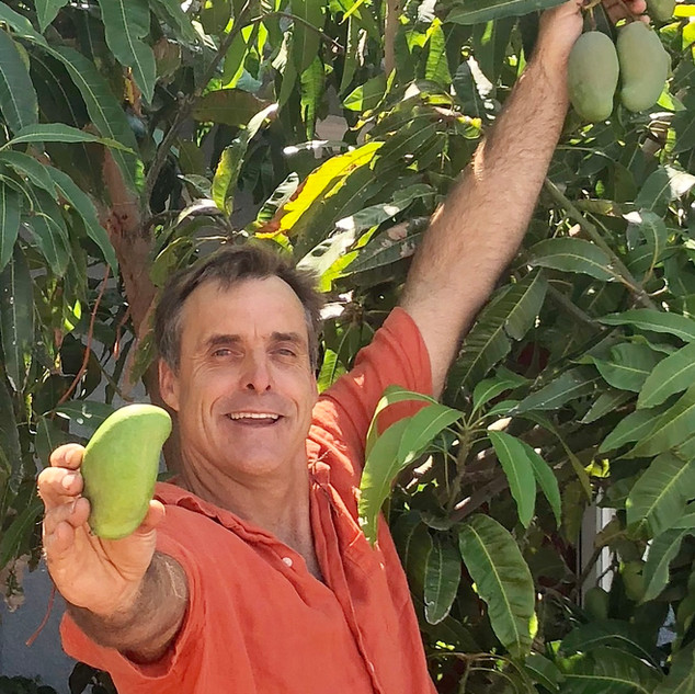 Gary Showing off Mango from the Pittsburg Tree