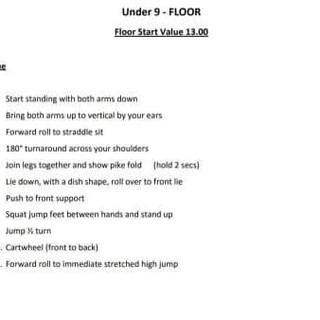 Under 9 Routine