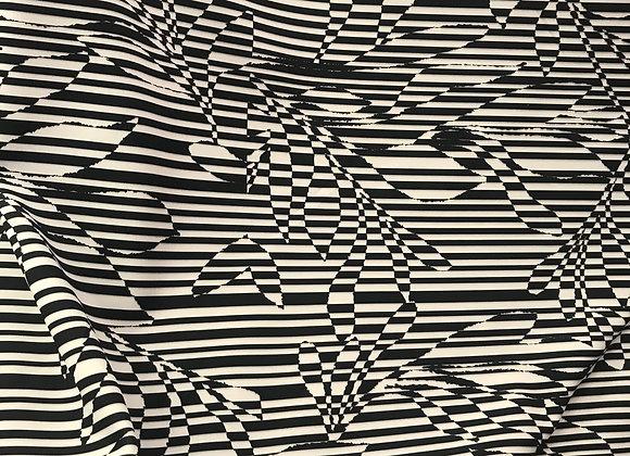 Outline Blk wht Scuba knit