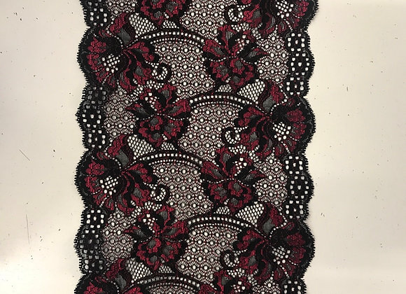 "6"" Stretch Lace Blk Red"