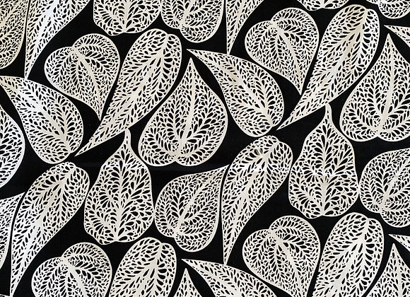 Leaves blk and wht Rayon