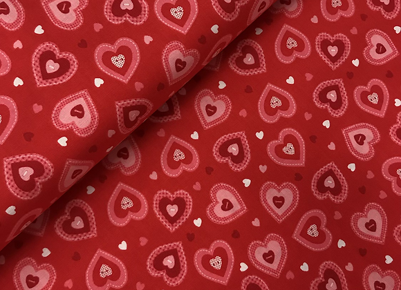Riley Blake Hearts Red