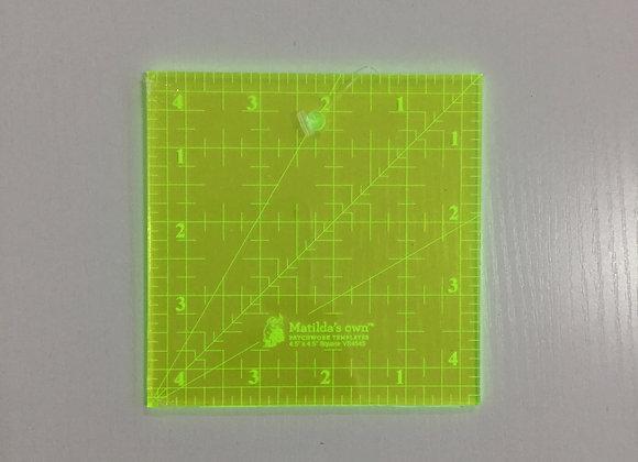 """Ruler Lazer Cut 4.5"""" square"""