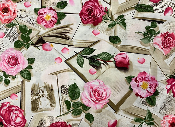 Books with Roses Timeless Treasures