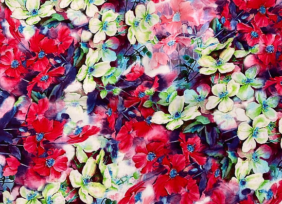 Digital floral red Rayon