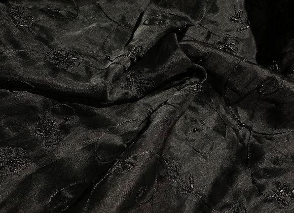Silk Organza Beaded black