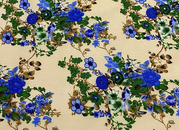 Floralette Royal  butter cotton