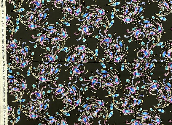 Peacock feathers sm flourish black