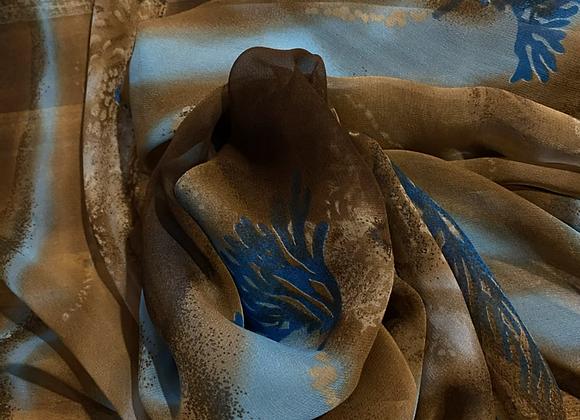 Silk chiffon Earth aqua