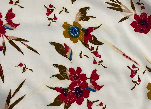Floral ivory red Rayon