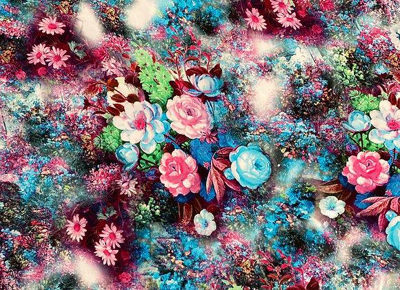 Digital floral blue Rayon