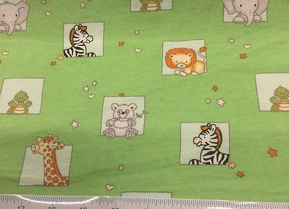 Baby zoo green Flannelette