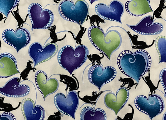 Catitude Blue with hearts