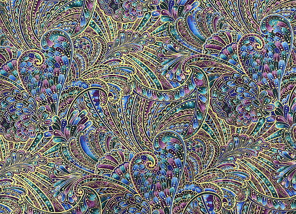 Peacock Paisley flourish black