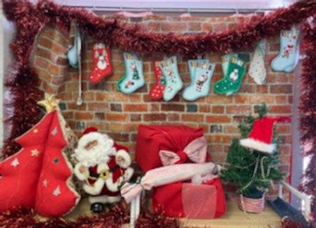 Bricks Upholstery Fabric Christmas fireplace