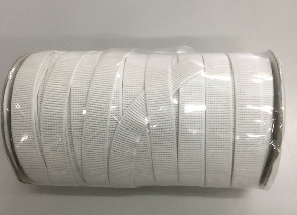 Elastic Non Roll Ribbed 20mm white 50mt roll