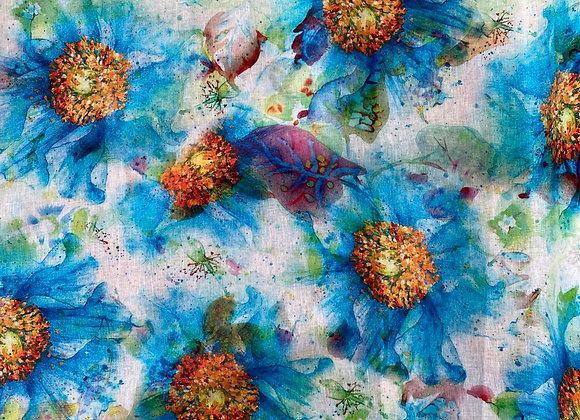 Sunflower blue printed linen