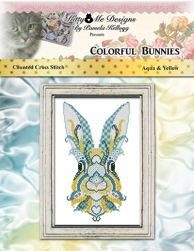 Colorful Bunnies - Aqua & Yellow