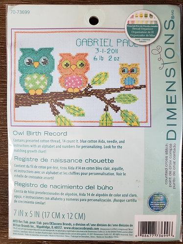 Dimensions Owl Birth Record