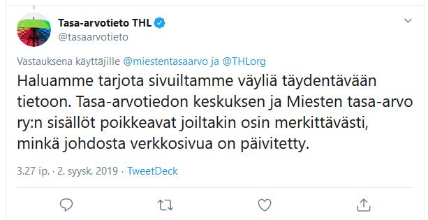 THL:n tasa-arvotiedon keskuksen Twiitti 2.9.2019.