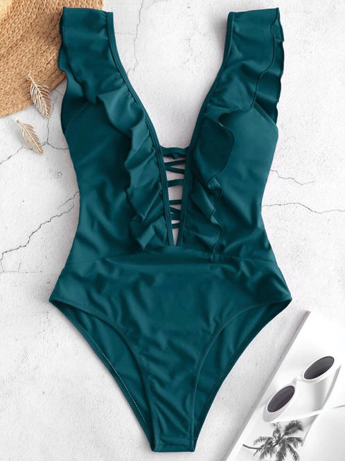 RUFFLE ONE PIECE (TEAL)