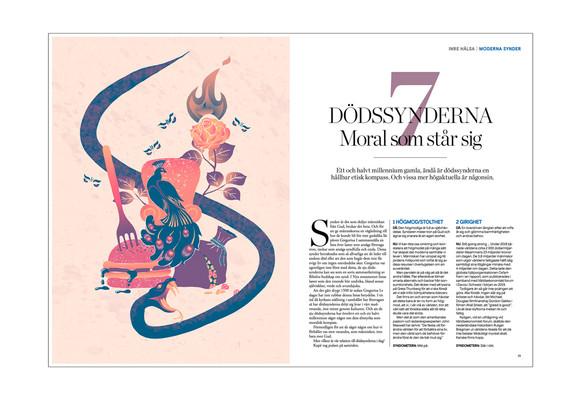 editorial illustration seven deadly sins