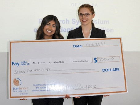 Renée and Aleena win prize in brain tumour research competition