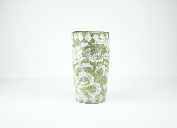 "Miyu Kurihara No.1 Cylinder vase""Pheasants"""
