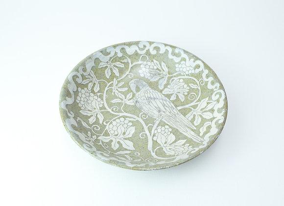 """Large bowl No.8 Miyu Kurihara x Yuta Segawa""""Parrot and grapes"""""""