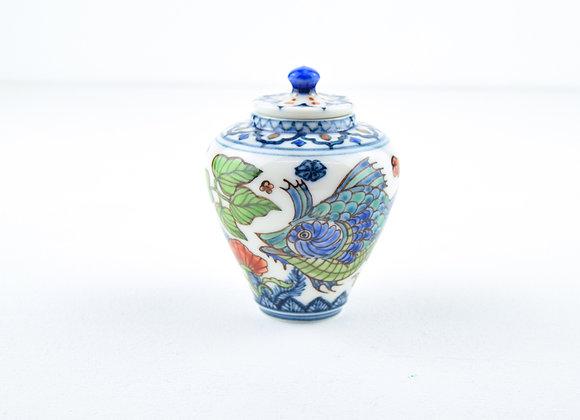 "P34 Miyu Kurihara × Yuta Segawa ""Blue fish""Pot & Cover Large"