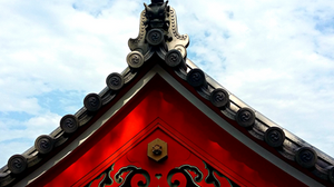 A roof , detail from a temple, Japan