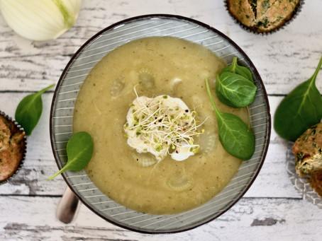 Fenchel-Kohlrabi-Suppe mit Spinat-Muffins