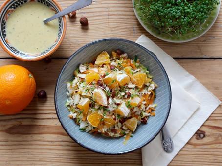 Warmer Reis-Salat mit Orangen und Haselnüssen