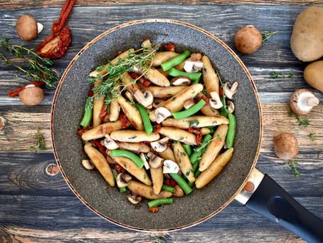 Schupfnudeln mit Pilzen und grünen Bohnen