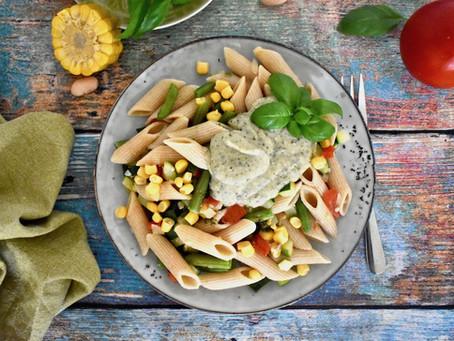 Pasta mit Bohnen-Pesto-Sauce