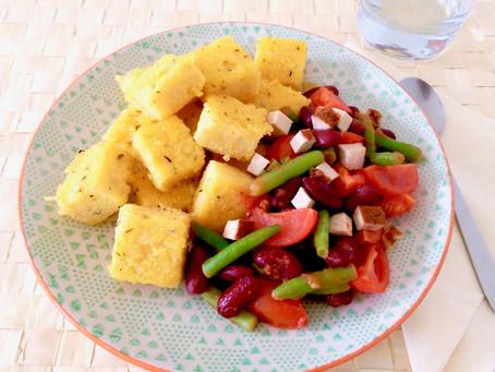 Polentawürfel mit Bohnen-Gemüse