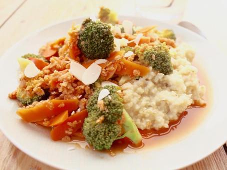 Hirse mit Sojahack und Gemüse