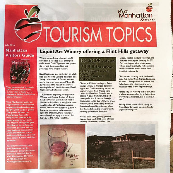 front page of tourism topics newspaper about Liquid Art Winery in Manhattan, KS
