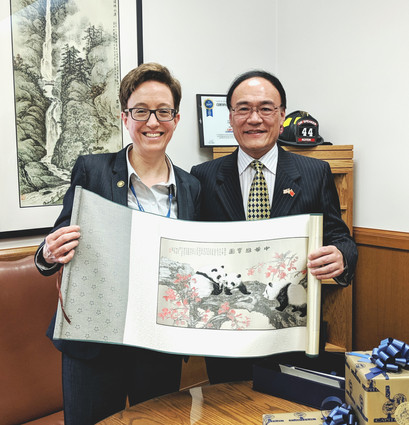 CG Wang with Oregon House Speaker Tina Kotek