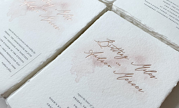 Letterpress printing on handmade paper