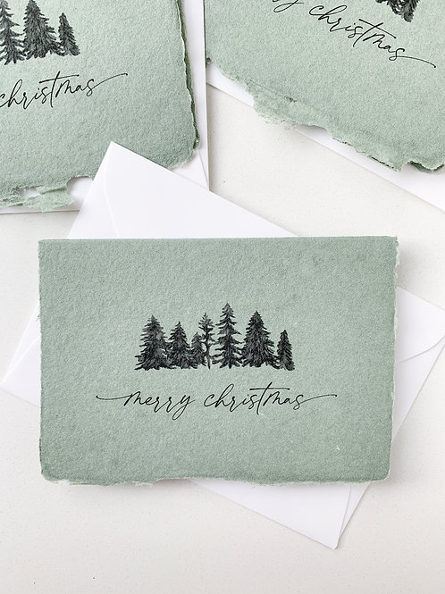 Handmade Paper Holiday Cards - Green