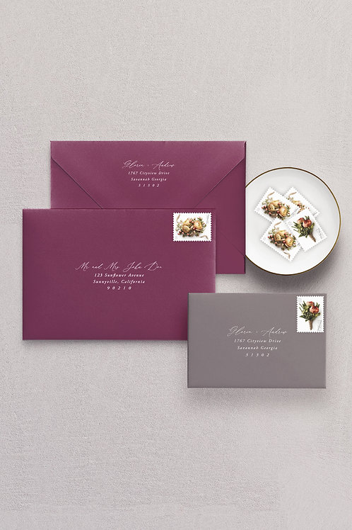White Ink Printed Guest & Return Addresses