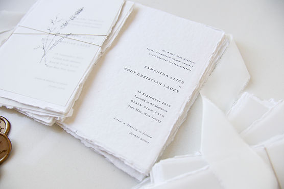 Custom Wedding Stationery made with handmade paper and letterpress